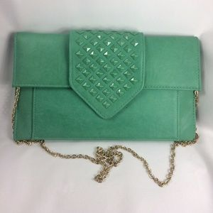 MODA LUXE Green Leather Studded Fold Purse